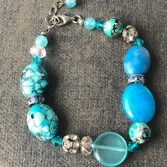 Sterling Crystal Turquoise Bead Bracelet